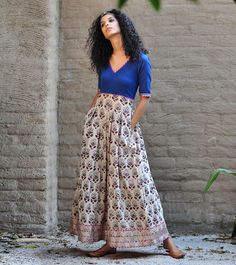 Royal blue and beige paisley print maxi