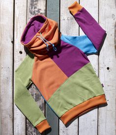 Orange, mallow, blue and green high neck pullover Rosa by Bosis