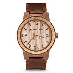 FEATURES Reclaimed American Oak Whiskey Barrel Wood Bezel Premium Distressed Brown Italian Leather Band Mineral Crystal Glass ( Scratch Resistant) Brushed Espresso316L Stainless Steel Water Resistant (Splash Proof, see FAQ) Stainless Steel Buckle Japanese Miyota Quartz Movement Adjustable to fit any wrist CASE Diameter (including wooden bezel): 47mm Band Width: 24mm