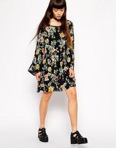 Enlarge ASOS Reclaimed Vintage Black Floral Flute Sleeve Dress