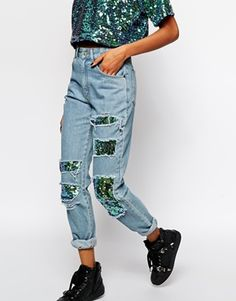 Enlarge The Ragged Priest Mom Jeans With Holographic Sequin Patch Detail Co-Ord