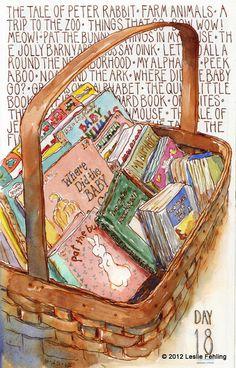 lovely watercolor art children's books in basket I Love Books, My Books, Album Jeunesse, Reading Art, Children Reading, World Of Books, Lectures, Book Nooks, In Kindergarten