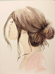 tumblr drawings girl with hair in bun side veiw - Google Search