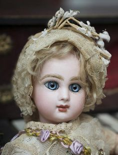 "9 1/2"" (24 cm.) Antique French Bisque Tiny Bebe Jumeau Doll, closed from respectfulbear on Ruby Lane"