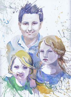 Family custom portrait, commission portrait , photo to painting, custom original watercolor portrait, art commission, personalized family
