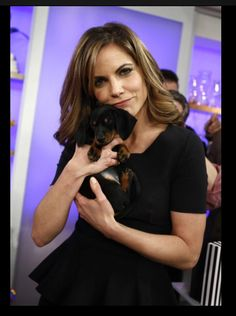 Today Show Natalie Morales and dachshund #dachshund #cute #dogs www.dachshundchannel.com www.facebook.com/dachshundchannel @indiefilmacdmy