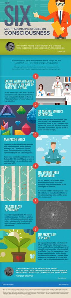 Six most fascinating studies of consciousness infographic from mindvalley Secret Life Of Plants, Learning Italian, Quantum Physics, Neuroscience, Consciousness, Awakening, Philosophy, Fun Facts, Knowledge