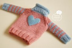 for blythe licca/ Hand-knitted cardigan Pink x Light by Ochibits