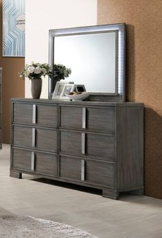 Edgewater Gray Solids Mindy Veneer Dresser And Mirror