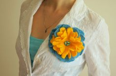 Fun Peony Felted Flower Brooch/Pin HandMade by AnnushkaWoolArt, $29.00