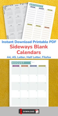 This collection of Sideways Blank Calendars gives you the opportunity to organize your activities and keep track of your schedule without unnecessary distractions. Get it now in PDF format and enjoy professionally-designed template. It is so easy to use and you can start anytime! Schedule Calendar, Blank Calendar, Planner Template, Filofax, Birthdays, Bullet Journal, Printables, Templates, Lettering