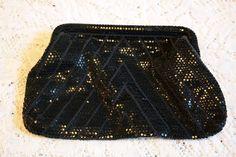 Vintage Black Sequined Mesh Evening Bag Clutch Purse by BlackRain4