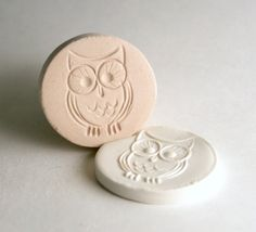 Owl Stamp in Clay -- Tiny Bird with Big Eyes -- Tool for Polymer Clay Ceramics Pottery