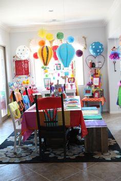 rainbow and hot air balloon party