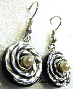 Recycled Coffee Capsule Jewelry Tutorials - Rim Rosette & Pearl Earrings - The Beading Gem's Journal