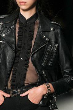 Saint Laurent SS14 | Sheer black blouse under a black biker leather jacket