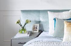 Josh & Elyse's Sackville Bedhead from The Block. Sackville bedhead in Ellison Seamist Velvet. Decor, Master Bedroom, Bed, Home, Home Bedroom, House Inspo, Home Decor, Bed Head, Room