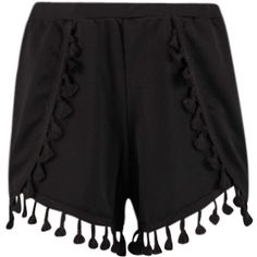 Boohoo Tara Tassle Trim Crepe Runner Shorts ($16) ❤ liked on Polyvore featuring shorts, bottoms and tassel shorts
