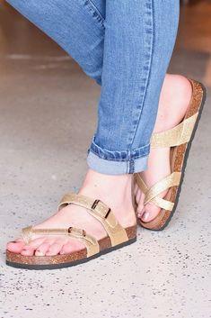 2e319176efb1 Bork Toe Strap Gold Glitter Sandals. TFL