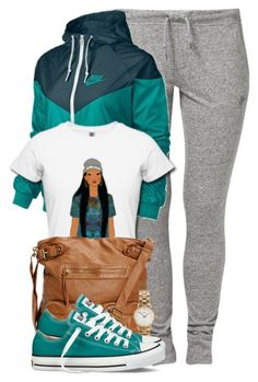 A fashion look from March 2015 featuring NIKE activewear pants, NIKE activewear jackets and Converse sneakers. Browse and shop related looks. Chill Outfits, Swag Outfits, Dope Outfits, Outfits For Teens, Casual Outfits, Fashion Killa, Look Fashion, Teen Fashion, Fashion Outfits