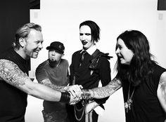James Hetfield (metallica), Fred Durst (limp bizkit), Marilyn Manson, and Ozzy Osbourne (black sabbath). James Hetfield, Ozzy Osbourne, Black Sabbath, Music Love, Music Is Life, Good Music, Music Den, Fred Durst, Heavy Metal