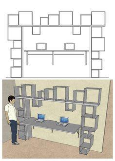 zona ufficio - scrivania e libreria in legno. Sistema per cavi a scomparsa.
