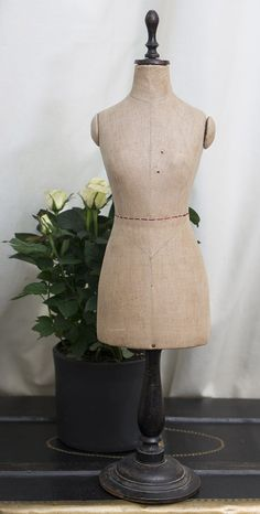 """27"""" (68 cm.) Antique French Doll Sized Mannequin with Wooden Pedestal Antique dolls at Respectfulbear.com"""