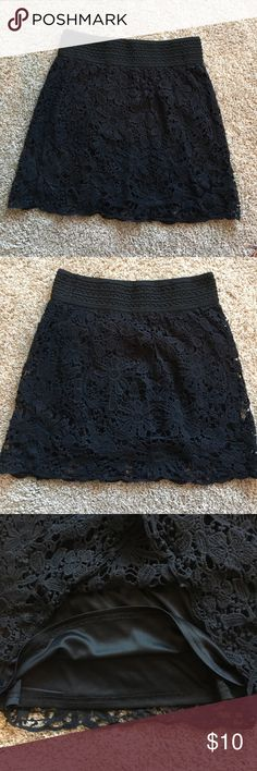 Crochet Black Mini skirt Never worn! Super cute. Stretches. Lining shown in third picture Forever 21 Skirts Mini