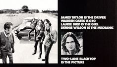 """""""Two-Lane Blacktop"""" is not just an awesome movie - it's also the only time poor old James Taylor was remotely bad-ass."""