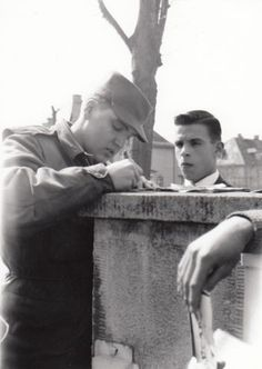 Elvis in Germany. Have only seen him turn down an autograph once and that was walking down the gang plank whe he arrived in Germany - Bad Nauheim 1959