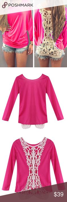 Hot seller!!!Pink sexy lace back long sleeve top This is a fast seller! Make sure you get this NOW before it's gone. Pink sexy lace back long sleeve top. Super cute! Super cute with bandeau top underneath or a long tank! Pair with jeans and call it a day. Tops Tees - Long Sleeve