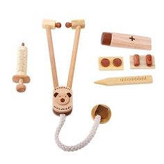 Eco-friendly wooden doctor play set familiarizes your child with basic medical tools in a fun and safe environment. Features a wearable stethoscope, a pushable Wooden Playset, Wooden Toys, Baby Toys, Kids Toys, Doctor Play Set, Toddler Age, Preschool Toys, Modern Kids, Pretend Play