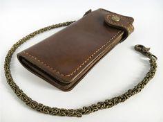 Leather biker wallet dark brown Long leather chain wallet