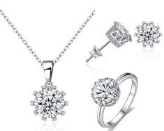 Set bijuterii din 4 piese, cu inel, cercei si colier cu pandantiv cu cristale Diamond, Silver, Jewelry, Jewlery, Jewerly, Schmuck, Diamonds, Jewels, Jewelery