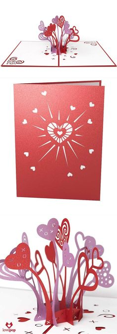 Gift an explosion of paper art hearts this Valentine's Day with this shiny red pop up card. #VDay #love