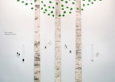 Koivikko means in Finnish a part in a forest, where only birches are growing. The wall arrangement was designed for the Tendence trade fair at Messe Frankfurt, Germany. The booth presented wooden jewelry from Viilu jewelry. Stylized and graphic birch trees highlight the roots of the materials used in the products and the origin of the brand. The birches take the visitor to a forest in Finland.   Designed and made by our design studio. Photo: Koivisto Studio Birch Forest, Birch Trees, Birch Bark, Mirror Words, Trade Fair, Frankfurt Germany, Birches, Cylinder Shape, The Visitors