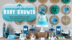 blue/teal party display -- I don't really need it for a baby... dessert table at reception?