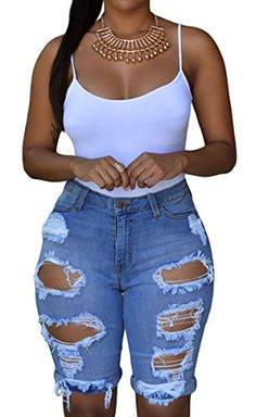 Special Offer: $19.99 amazon.com Need the perfect shorts? Here you have them now. Spice up your look with these destroyed bermudas! Denim shorts with a destroyed front and cuff hem. Four pockets, with belt loops, button and zip closure. Looks cute with a slouchy tee and your favorite...
