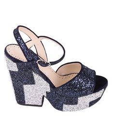 TWIN-SET TWIN-SET WOMEN'S  SILVER/BLUE GLITTER SANDALS. #twin-set #shoes #