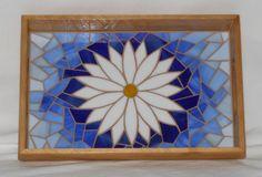 Daisy mosaic wood tray