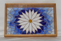 Daisy mosaic wood tray