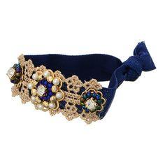 Blue Hair Tie with Rhinestones