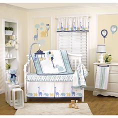The Petit Tresor Happy Animals 4 piece crib bedding set presents a unique combination of traditional and eclectic patterns with contemporary design elements.