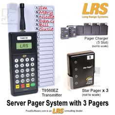 Restaurant Server Pager System with 3 Pagers. Complete plug-n-play wireless pager system kit includes 1 transmitter, 3 staff pagers and 5-bay charger system. Designed for tough restaurant waitstaff use but also for offices, clinic staff, salon and spa staff, church parent paging and more. System expansion and replacement parts are readily available. One-year factory warranty with service and support by Texas company; Spanish-language help also available. NOTE: For US install only - no…