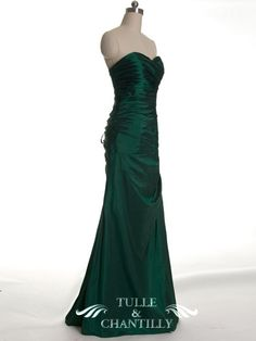 Fall Wedding Ideas - Slim Pleated Lace-up Back Dark Green Bridesmaid Dress With Sweep Train