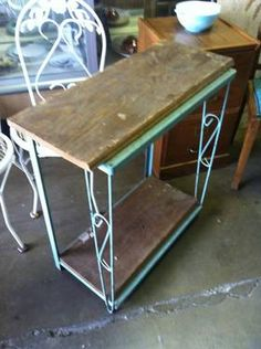 Vintage Wood and Metal Shelf - Shabby Chic    $50    Storage Hunter Sales 817-585-1350 Storage Hunters, Wood And Metal Shelves, Vintage Wood, Shabby Chic, Shelf, Backyard, Inspire, Table, Furniture