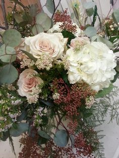 Quicksand Roses with Rice flower, Seeded Eucalyptus and Hydrangea.