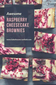 Awesome Raspberry cheesecake brownies. Have the best of both worlds with these dark chocolate brownies topped with New York style baked cheesecake, rippled with raspberry sauce and topped with raspberry pieces. Soooo good. Would make an ideal client gift or for baby showers, hen dos or any event where chocolate is required!