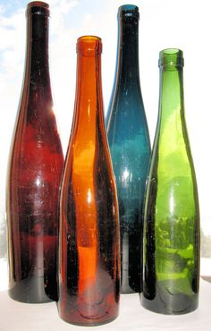 Set of 4 Truly Antique COLORFUL HOCK WINE bottles   by plowgirl, $100.00