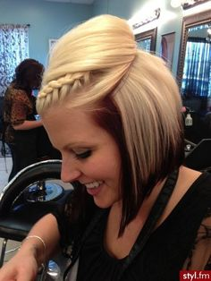 I really like this front crown braid for short hair.   http://styl.fm/item/2173990